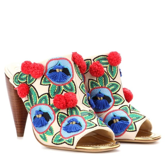 4c55dfdac1905d Tory Burch Ellis pompom embroidered heel mules